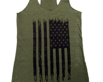 Military American Flag Tank Top, Vintage style Tank Top, American Flag Tank, Fourth of July Tank, Country Concert Tank, Holiday clothing