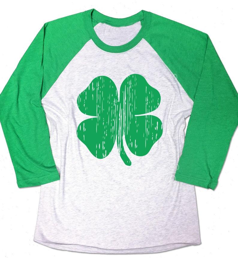 991d5a42d403 St Patrick's Day Lucky Shamrock Shirt. Baseball Raglan. | Etsy