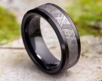 Unique Black Wedding Band for Man With Authentic Gibeon Meteorite, Airplane Grade Ceramic Ring