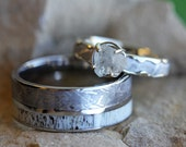 Rough Diamond Engagement Ring Set With Men 39 s Deer Antler Wedding Band, Meteorite Wedding Rings For Him And Her