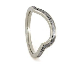 Custom Wedding Band Featuring an 18k White Gold Ring with Partial Meteorite Inlay, Personalized Wedding Band