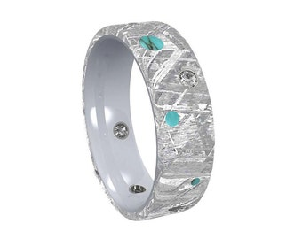 Moissanite Wedding Ring With Turquoise Accent, Meteorite Wedding Band For Men or Women in Titanium, Unique Commitment Ring