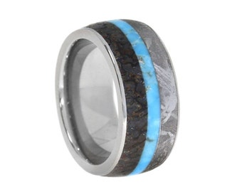 Gibeon Meteorite and Dinosaur Bone Ring with Turquoise Center, Titanium Wedding Band