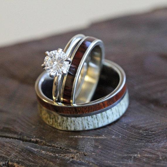 Unique Deer Antler Wedding Ring Set Women S Diamond And Etsy