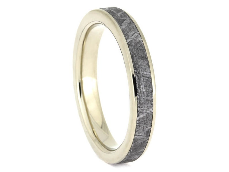 e29ee9f77c2 Thin Gold Meteorite Wedding Band