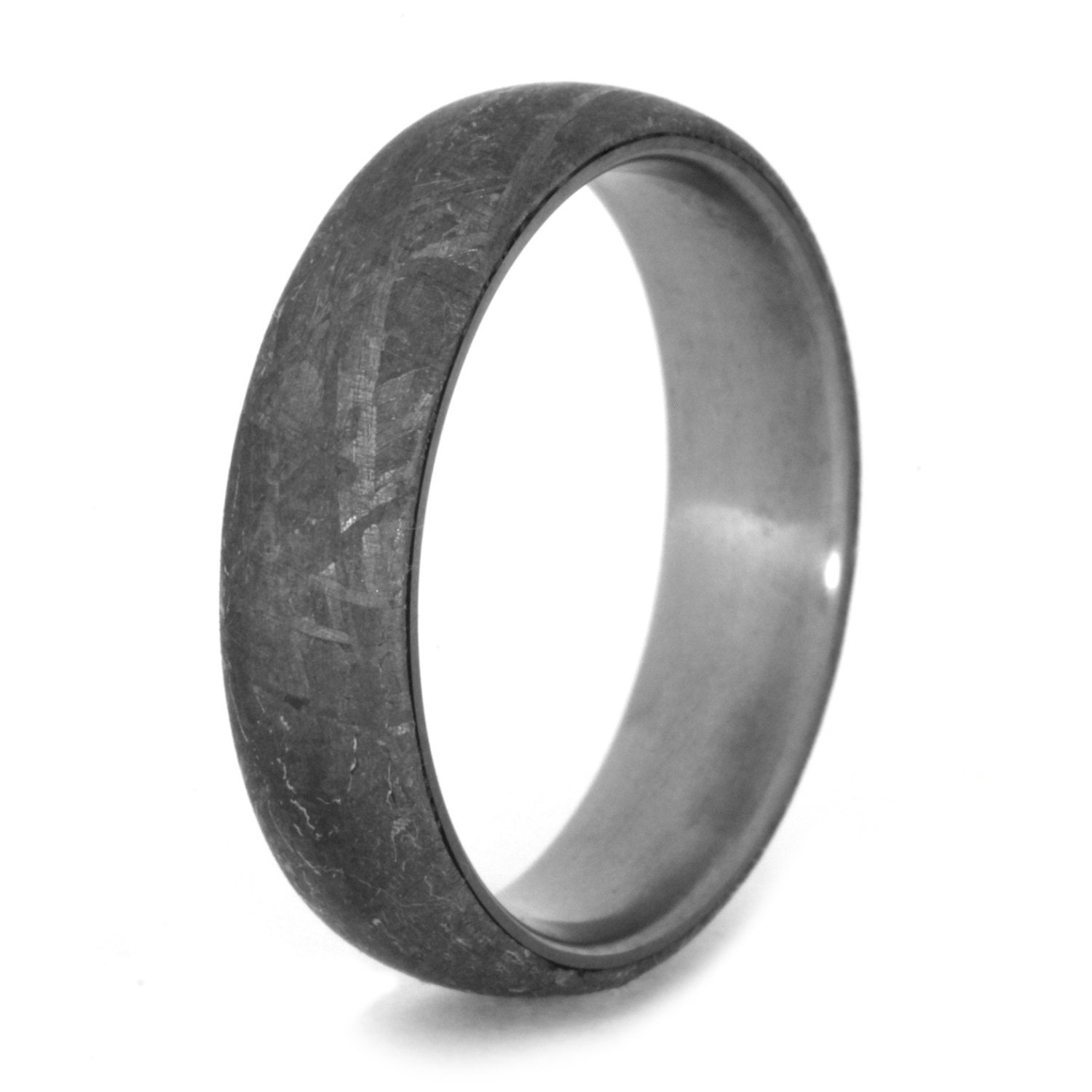 Simple Meteorite Ring in Titanium, Masculine Mens Wedding Band With Meteorite Overlay