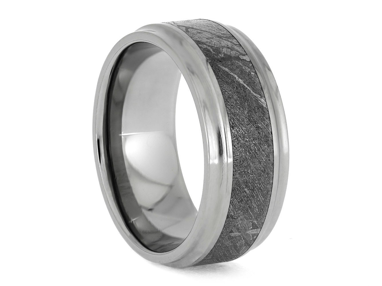 This is a graphic of Meteorite Wedding Band, Titanium Ring With Concave Edges