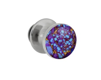 Lava Turquoise Mosaic Tie Tack With Sterling Silver, Gem Alloy Accessory, Jewelry for Men