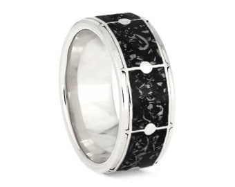 Sterling Silver Drum Ring with Black Stardust, Space Ring For Musicians