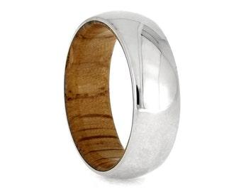 Wood Wedding Band With Oak Wood Sleeve, 14k White Gold Overlay, Wood Jewelry, White Gold Wedding Band