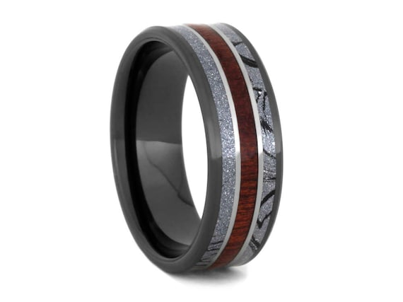 Bloodwood And Black Ceramic Ring