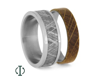 Interchangeable Meteorite Ring, Whiskey Barrel Wood Wedding Band, Oak Wood Ring With Titanium, Mix And Match