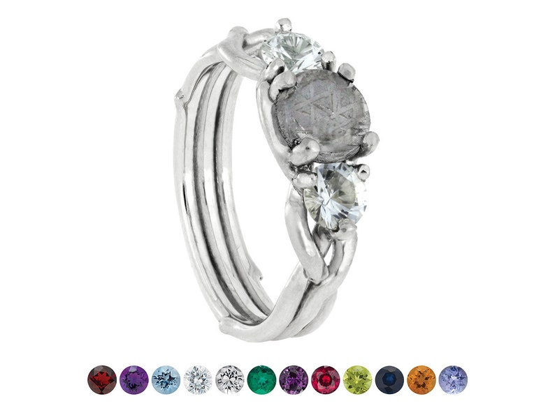 90caab2e9d9f4 Meteorite Stone Engagement Ring with Accent Stones