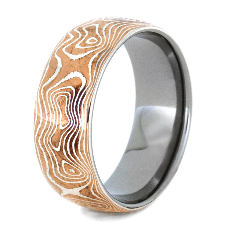Copper And Silver Mokume Gane Ring With Titanium