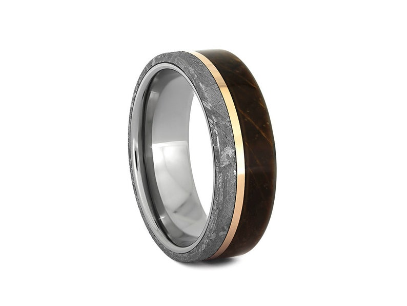 b2df5835fffaf Meteorite and Whiskey Barrel Wood Wedding Band with Rose Gold Pinstripe