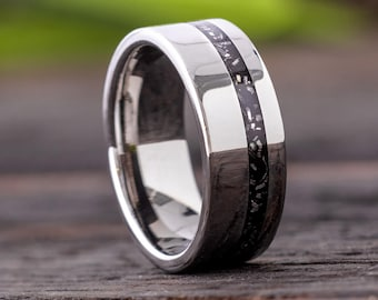 Black Stardust Men's Wedding Band, Other Stardust Colors Available