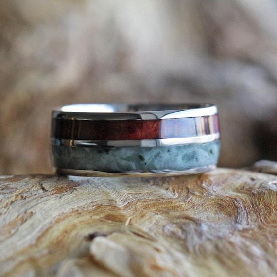 Titanium Wedding Band With A Redwood Pinstripe