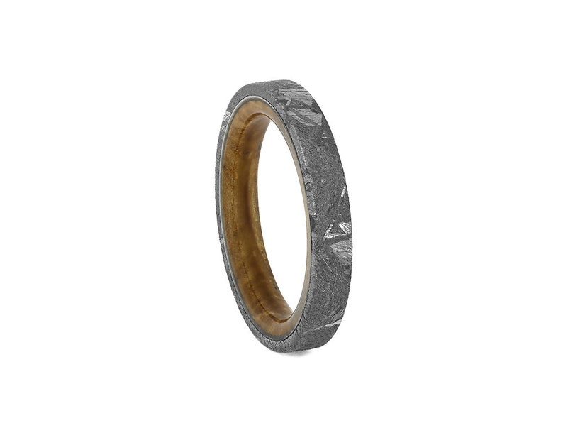44c75d6859b3e Thin Meteorite Women's Wedding Band with Whiskey Barrel Wood Sleeve