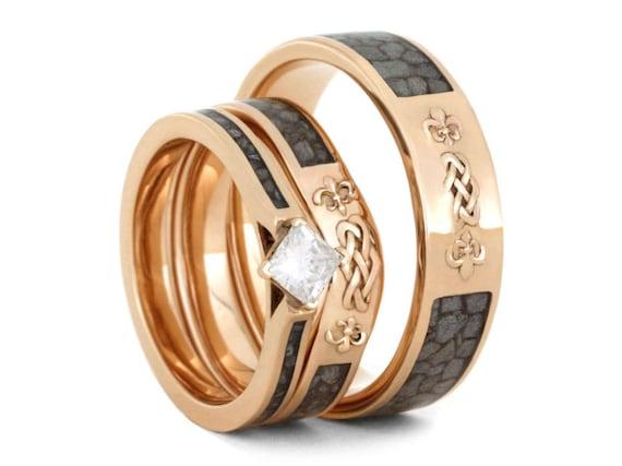Crushed Deer Antler Wedding Ring Set Princess Cut Moissanite Etsy