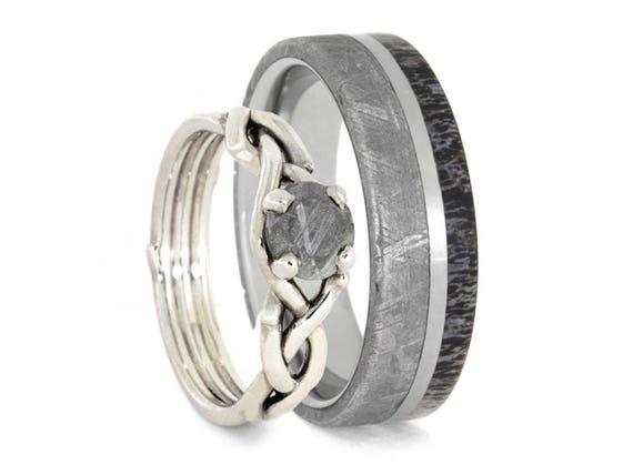 Meteorite Wedding Ring Set Antler Wedding Band And Sterling Etsy