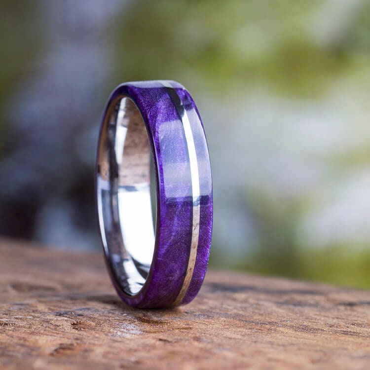 Wooden Wedding Band Titanium Ring With Purple Box Elder Burl