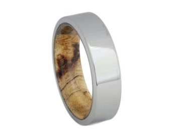 Titanium Ring With An Exotic Wooden Sleeve, Handmade Wood Wedding Band for Men or Women