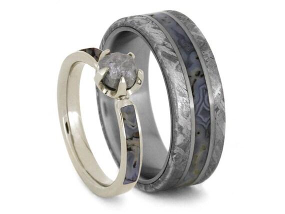 Dinosaur Bone Wedding Ring Set Rough Diamond Engagement Ring  5e60401d8