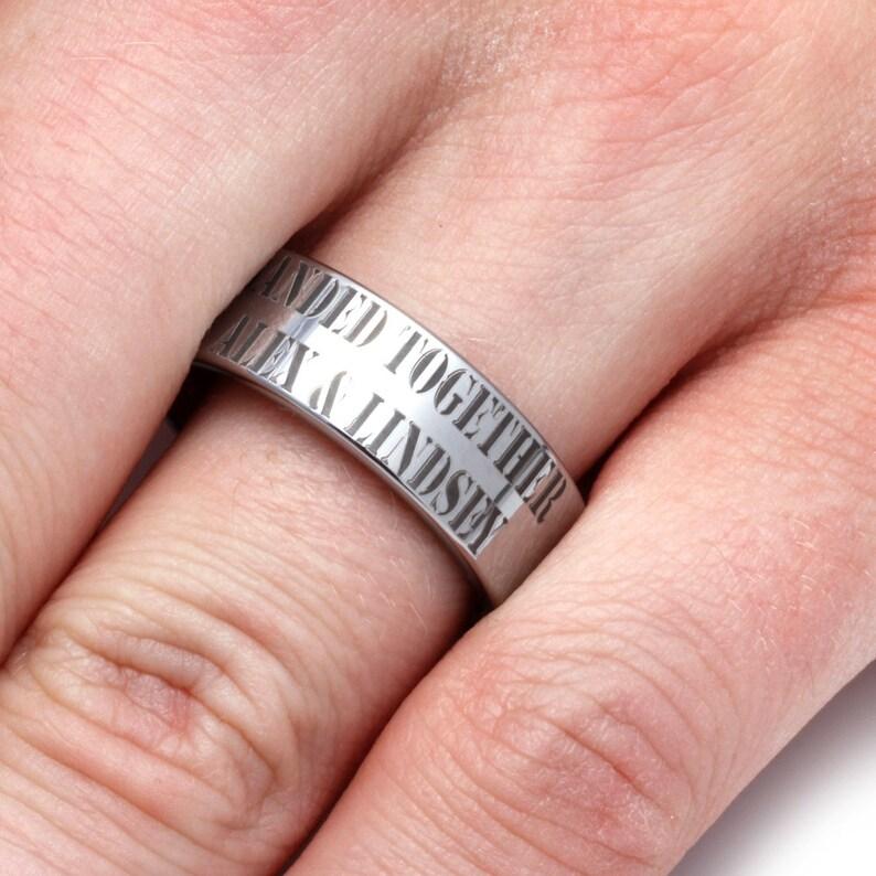 Cypress Wood Sleeve Ring Custom Engraved Wedding Band