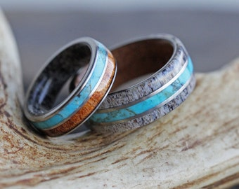Turquoise, Antler & Wood Ring Set, Coordinating Rings for Nature Lovers, His and Hers, Hers and Hers, His and His