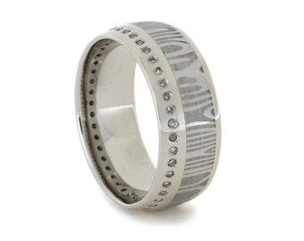 Diamond Eternity Band with Damascus Steel Ring in Solid 14k White Gold, Damascus Diamond Ring