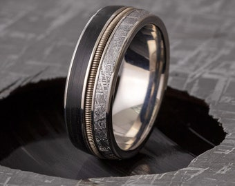 Vinyl Record Ring with Guitar String and Meteorite