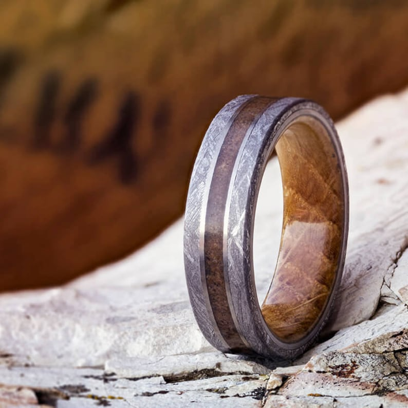 2be632ad7e38f Meteorite and Whiskey Barrel Wood Wedding Band, Unique Men's Wedding Ring