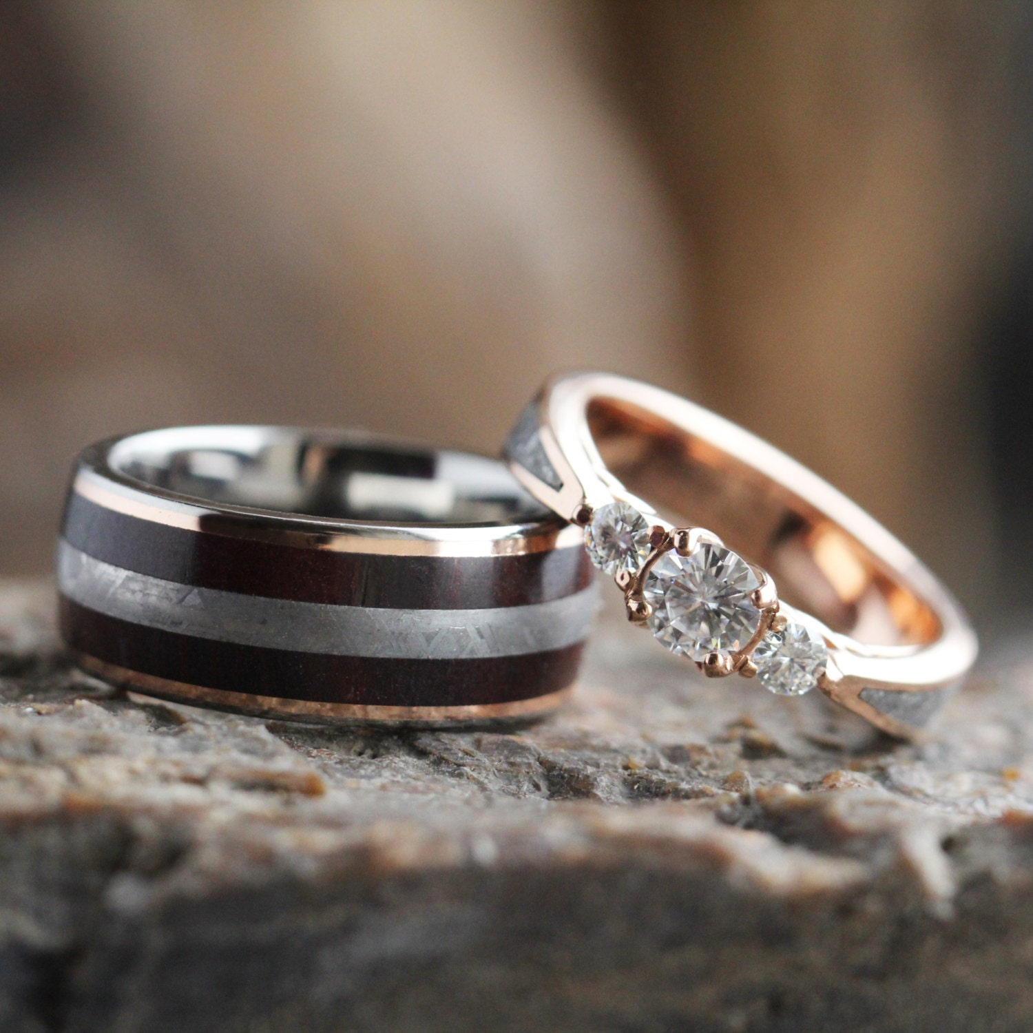Meteorite Wedding Ring Set Three Stone Engagement Ring