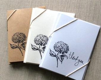 6 Hydrangea Card Set, hydrangea note cards, flower card set, flower note cards, thank you cards, blank card set
