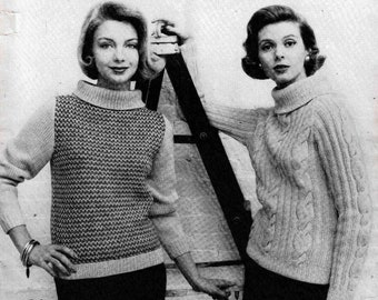 Columbia Minerva Knitting Pattern Book 736 Jubilee Collection Quick and Bulky Hand-Knits Sweaters Coats Jackets Cardigans Circa 1958 Fibers