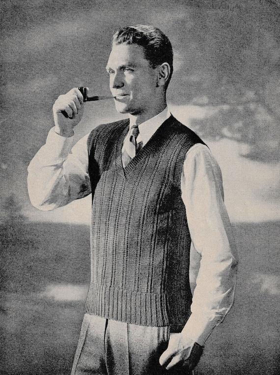 1940s Mens Knit Vest Pattern - Purdue