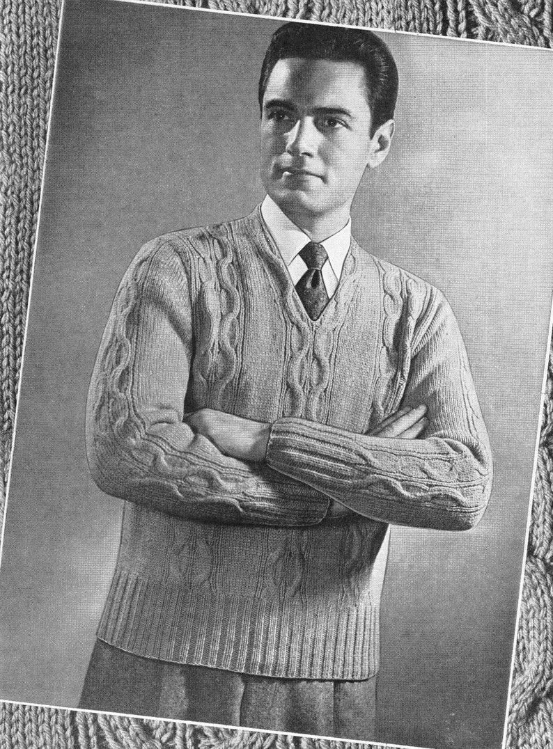 1946 Knit Cabled Mens Sweater PDF Knitting Pattern