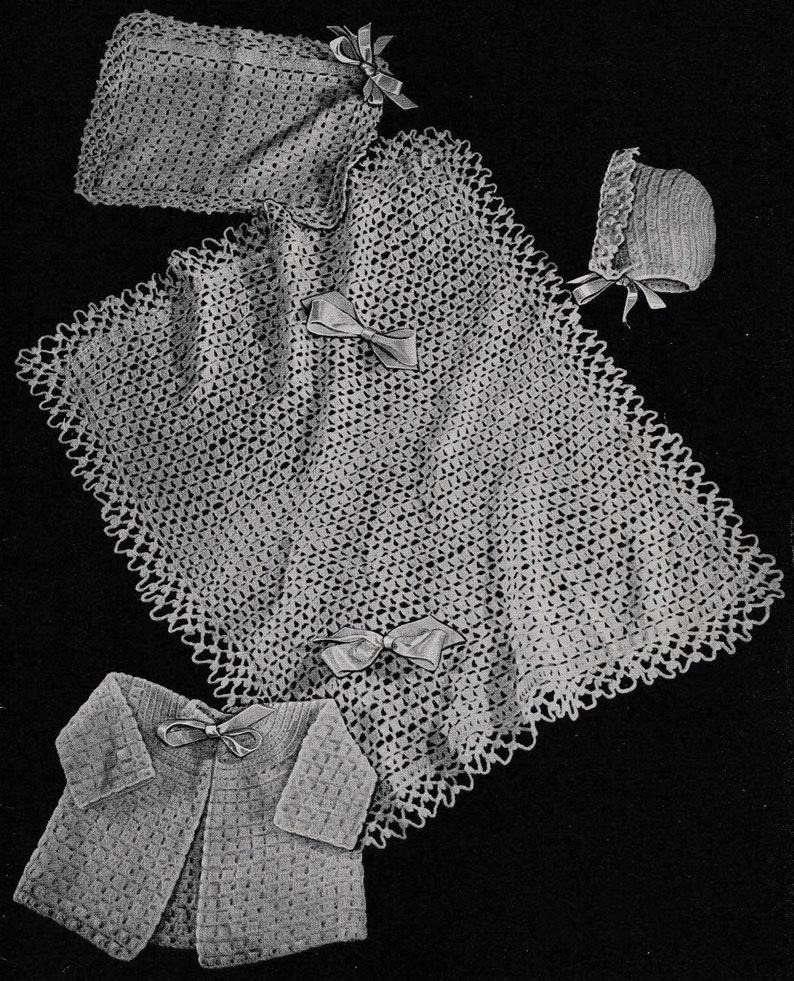 Newborn Gift PDF Crochet Pattern 1940s Baby Layette Crochet Pattern 3002