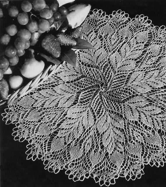 Vintage Knit Doily Pattern from 1953 Pine Cone Knitted Doily