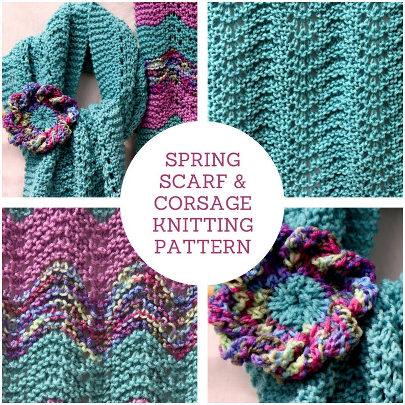 INSTANT DOWNLOAD PDF Knitting Pattern Spring Lace Scarf and image 0