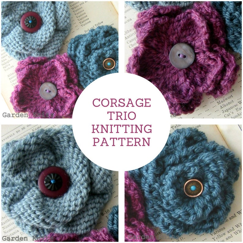 INSTANT DOWNLOAD Corsage Knitting Pattern PDF  Knit a trio of image 0