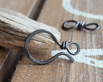 Gunmetal Clasp, Oxidized Hook and Eye Clasp, Large 18g Classic II, Hammered, Sterling Silver or Silver Filled, Artisan Findings