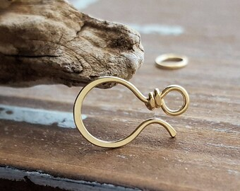 Small Clasp, 14k Gold Filled Dainty Classic, 20g, Tiny Hammered Clasp, Artisan Findings, Handmade