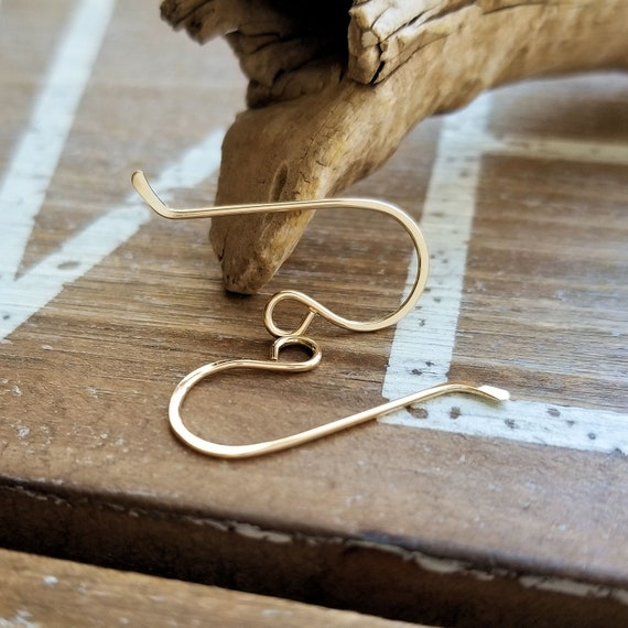 Earwires Gold Filled French Ear Wires Hammered Ear Hooks Earring Findings