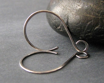 Antiqued Hammered Hoop Earwires, Sterling Silver Earring Findings, Handmade Swingers, 3 pairs
