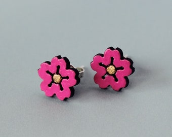 Little Walnut Cherry Blossom Stud Earrings