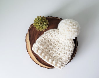 Luxury Hat, 100% Wool Hat, Chunky Hat, Peruvian Wool Luxury Beanie, Knit Hat, Luxe Beanie, Wool Pom Pom Hat, White Knit Hat, Natural Wool