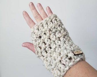 Wrist Warmers in Wheat, Hand Warmers, Fingerless Gloves, Texting Mitts, Texting Mittens, Handwarmer