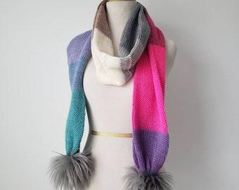 Faux Fur Pom Scarf, Long Scarf,  Knit Scarf, Soft Scarf, Silver Faux Fur Handmade Poms - Ready to Ship