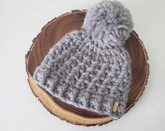 Luxury Beanie in Light Grey, 100% Wool Hat, Winter Hat - Ready to Ship